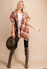 Plaid Poncho with Suede Detailing