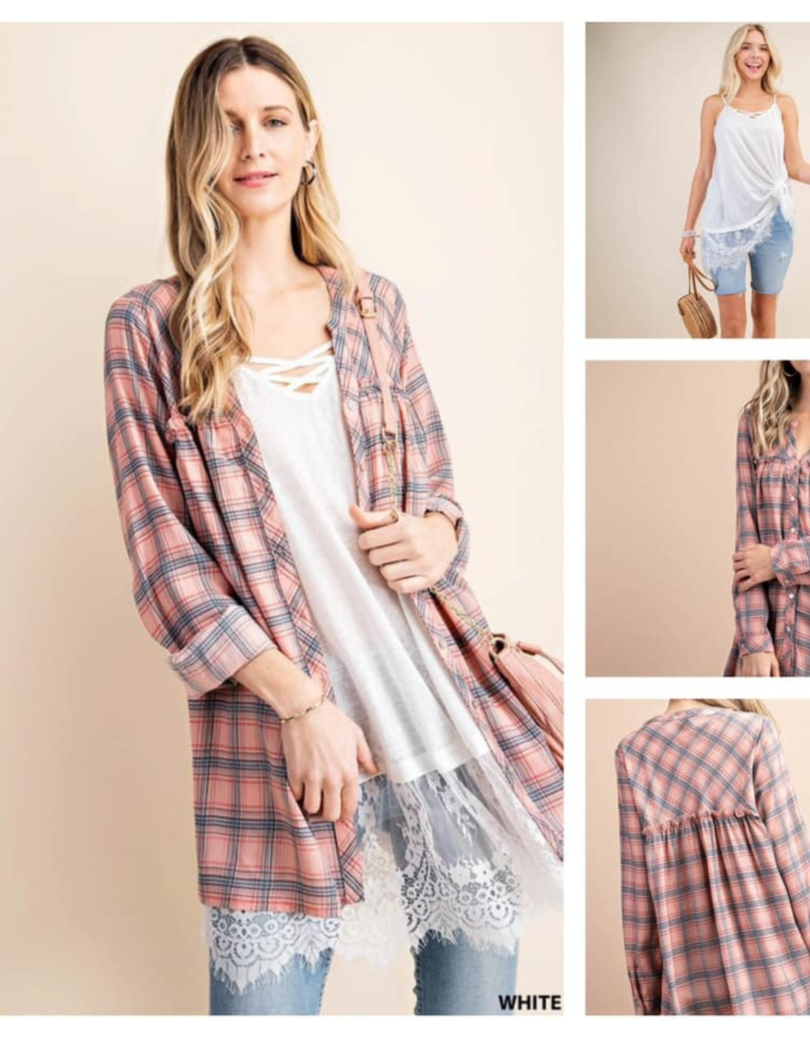 Plaid Baby Doll Button Down Top