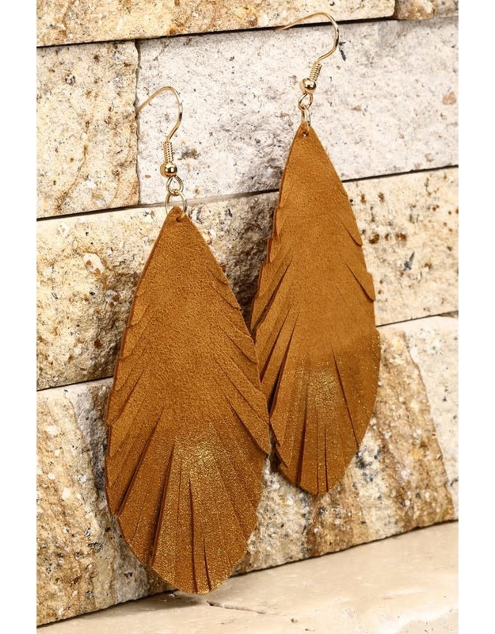 Gold Accent Leaf Earrings