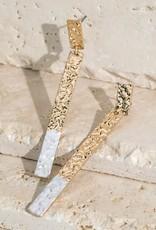 Hammered Metal Dangle Post Earrings