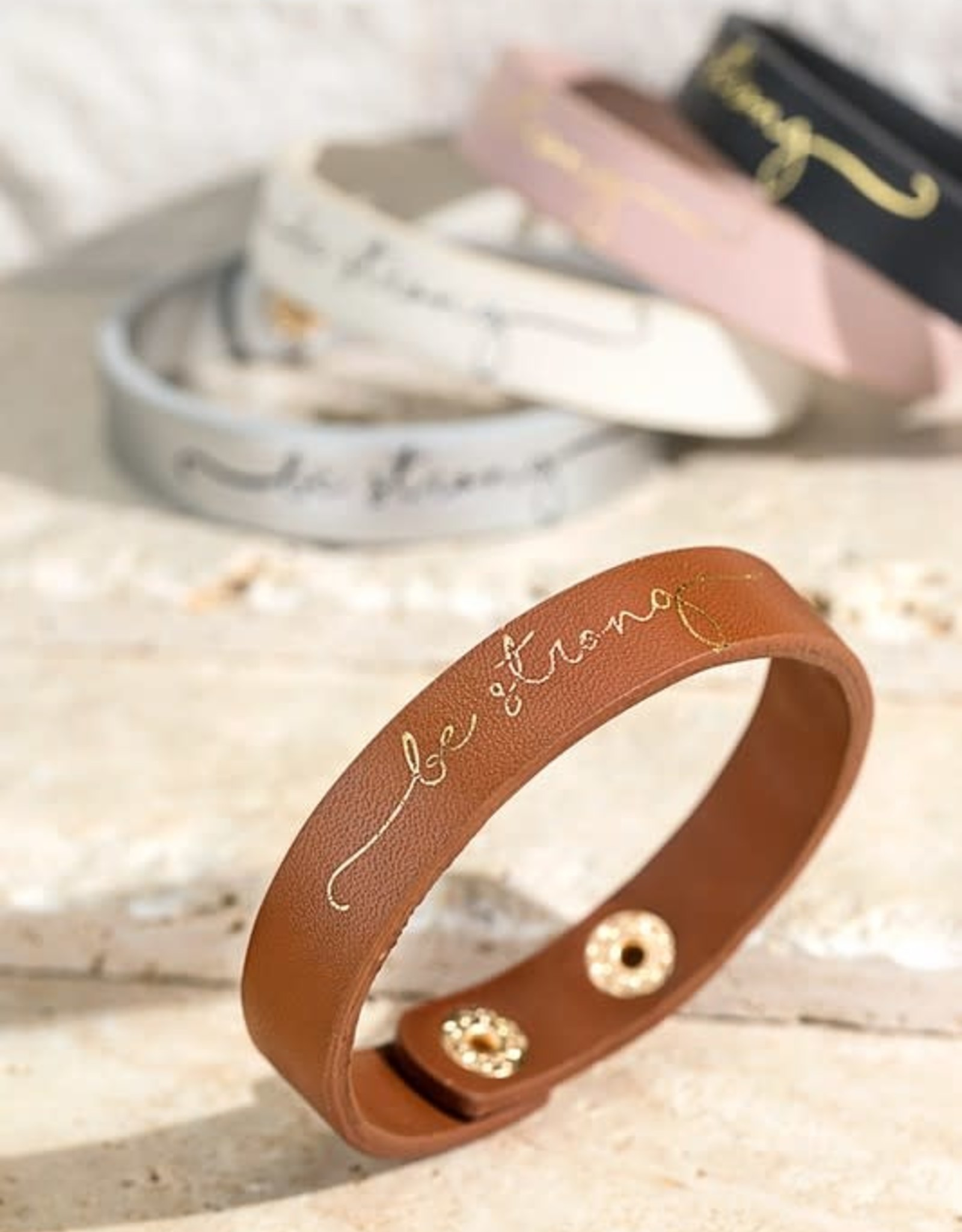 """""""Be Strong"""" Faux Leather Bracelet"""