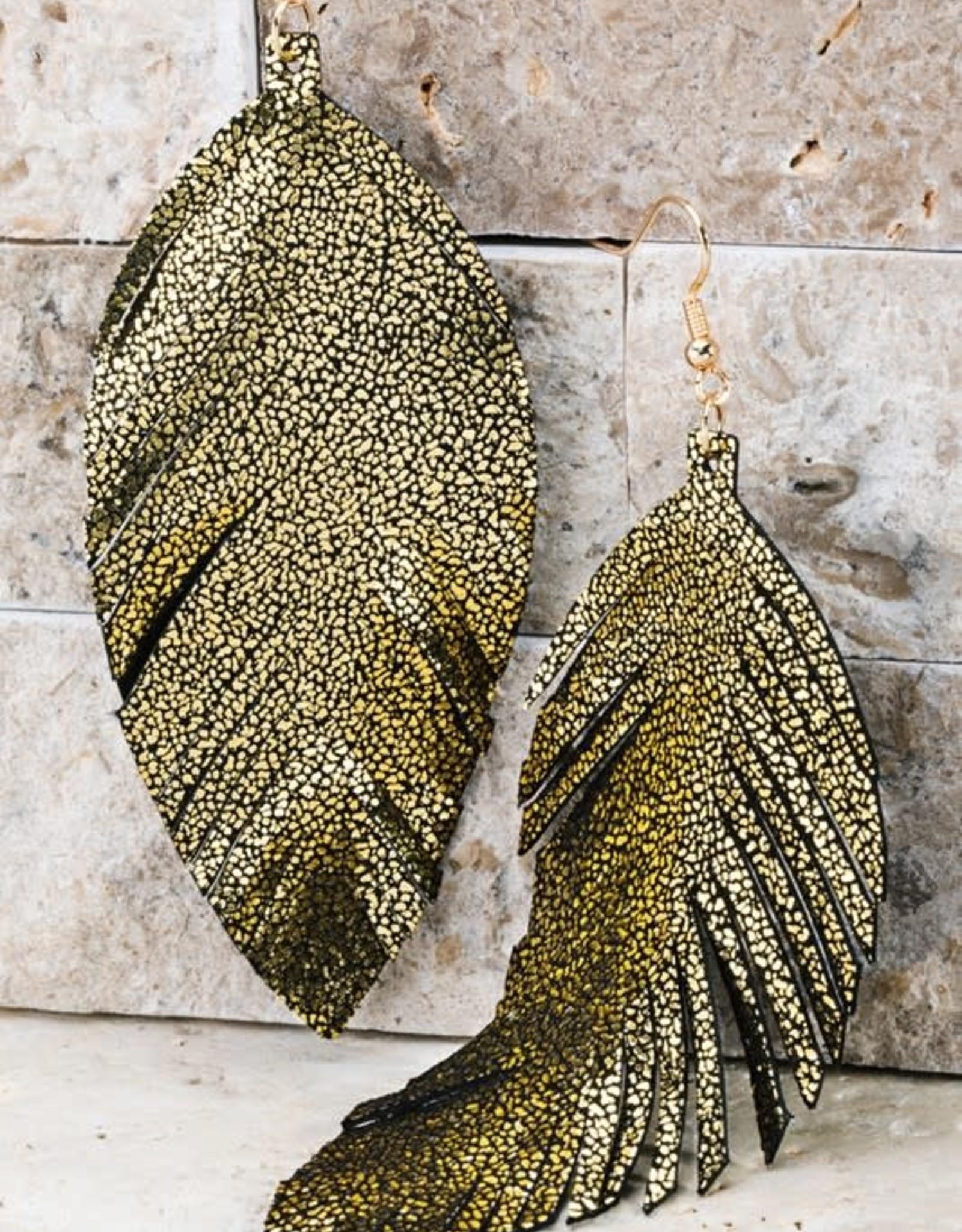 Glittery Leather Leaf Earrings