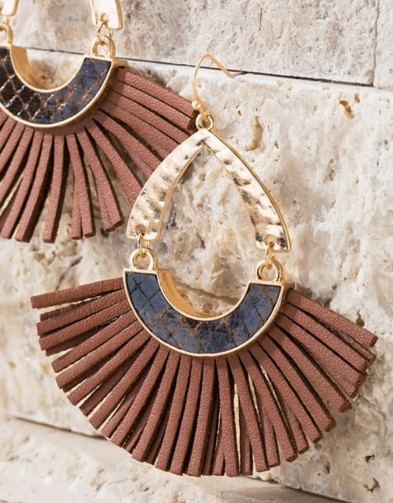 Faux Snake and Tassel Earrings