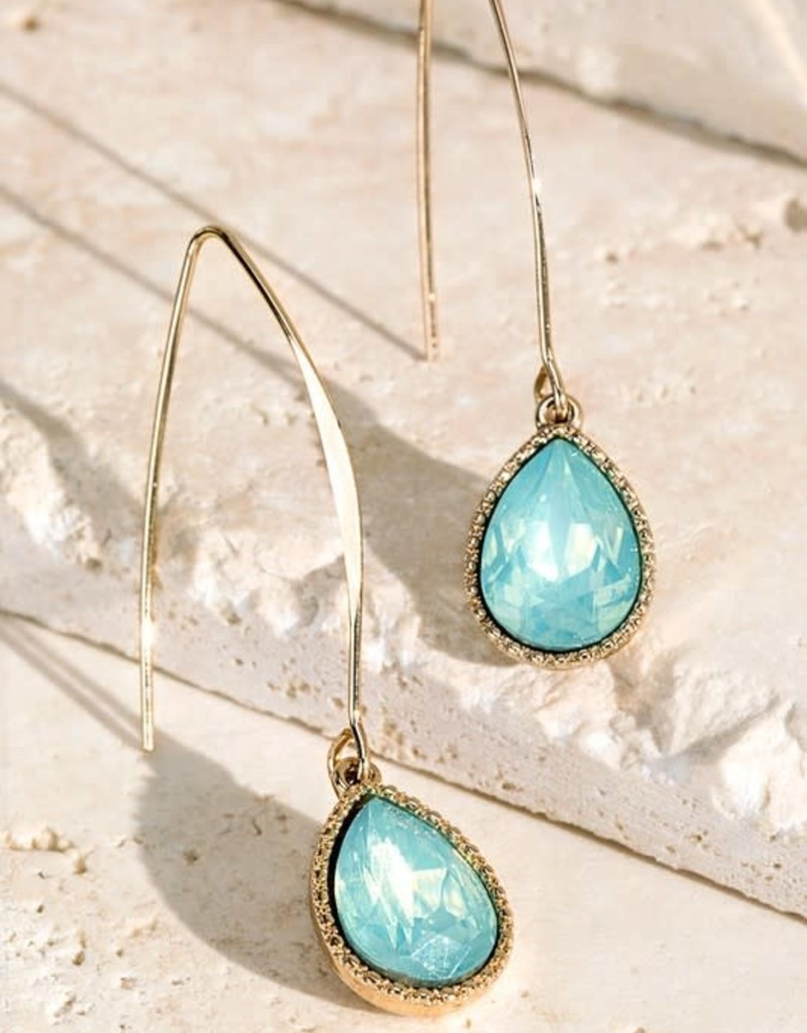 Colored Glass Tear Drop Hook Earrings