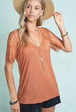 Scalloped Lace V-Neck Top
