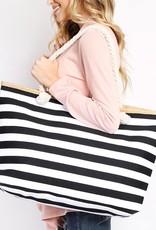 Striped Tote Black
