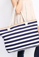 Striped Tote Navy