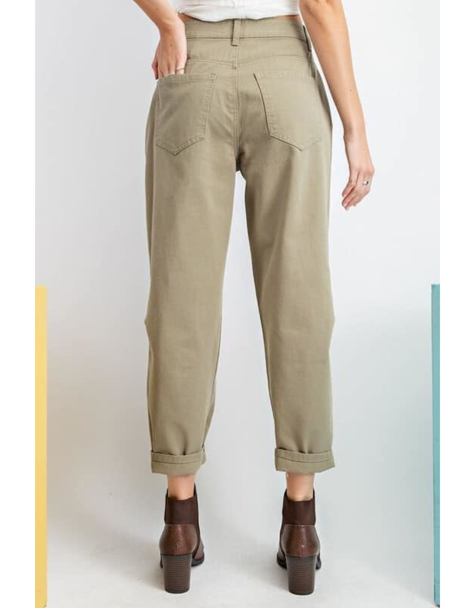 Washed Twill Mom Jeans
