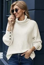 Lantern Sleeve Turtleneck Pullover Sweater