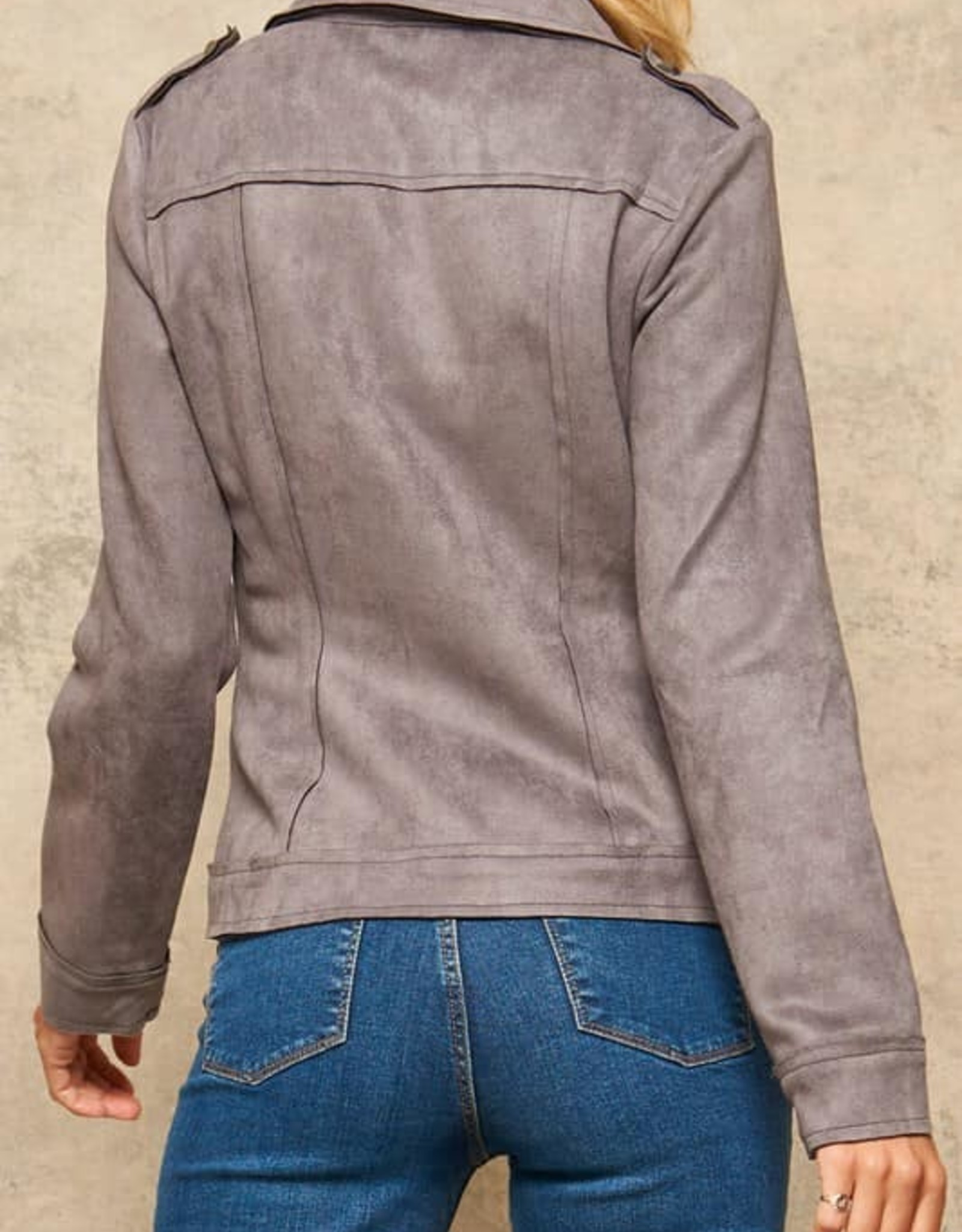 Studded Faux Suede Zip-Up Moto Jacket