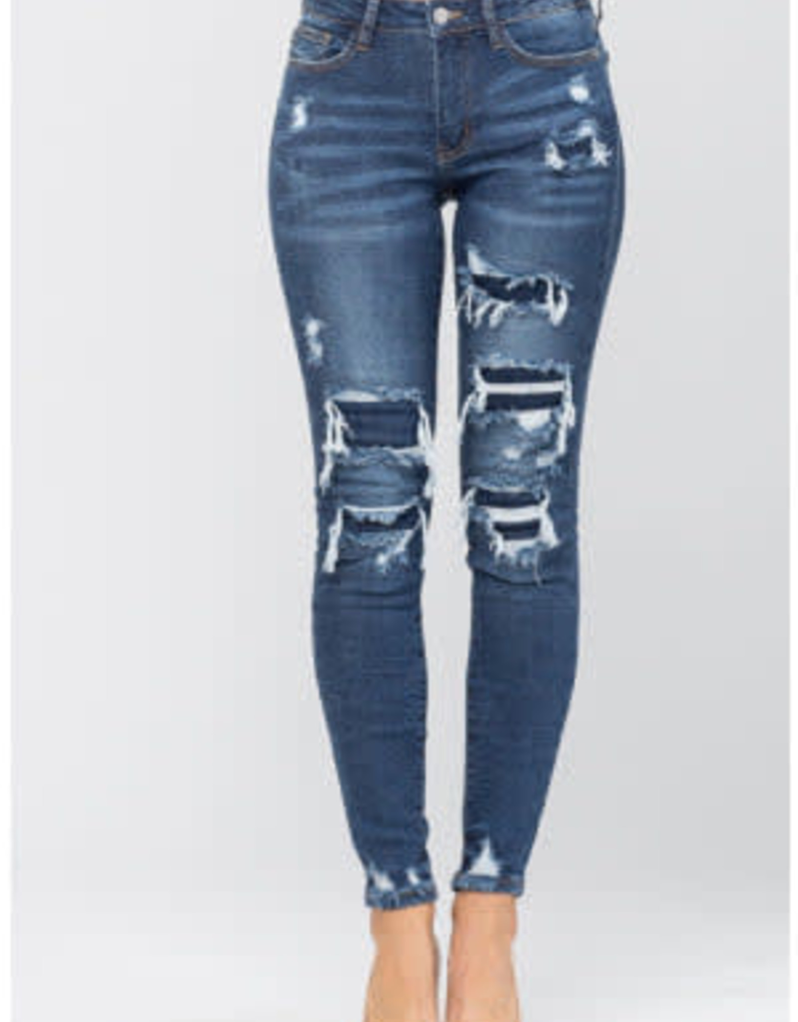 Judy Blue Patched Destroyed Skinny Jeans