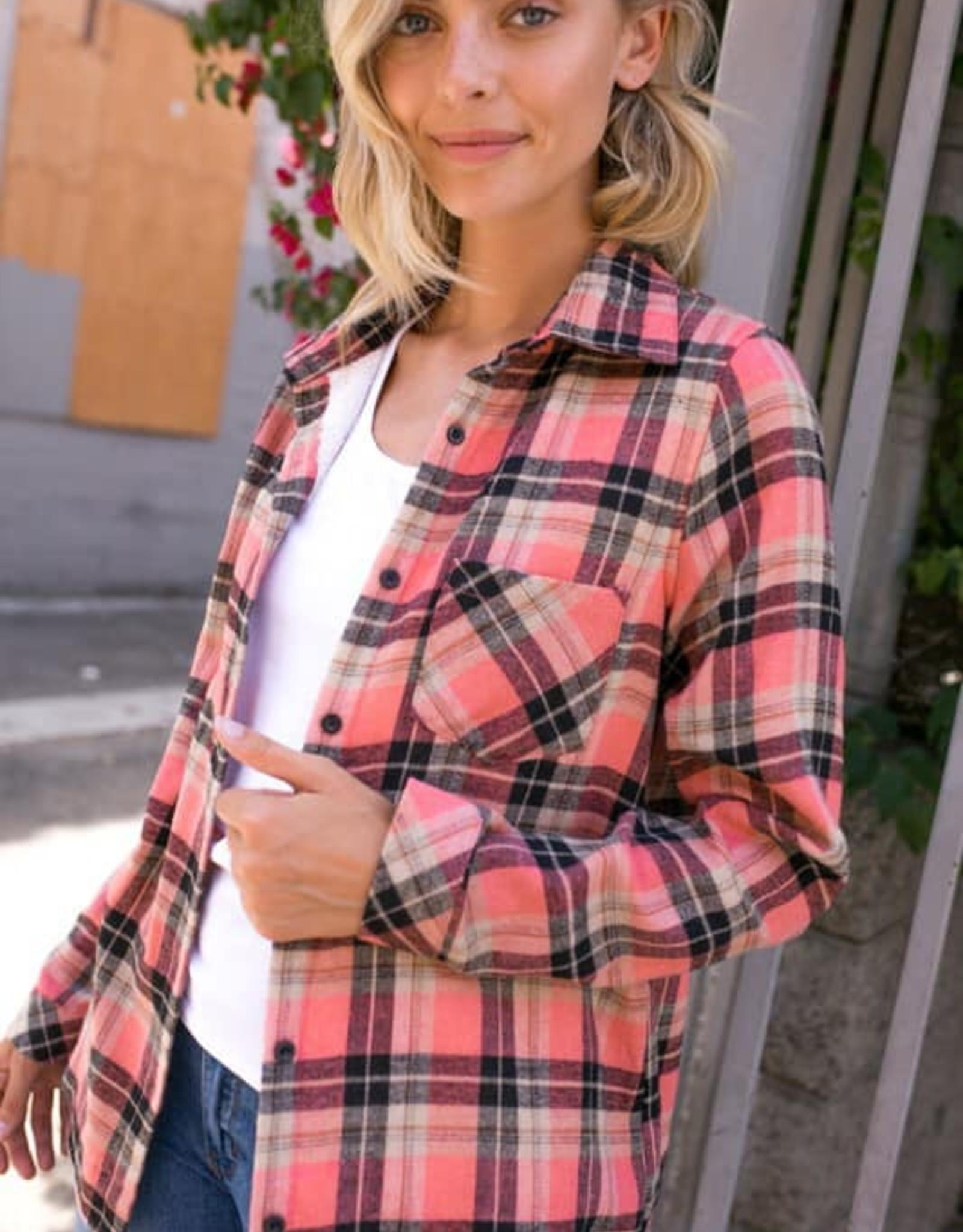 Plaid Fleece Lined Flannel Top