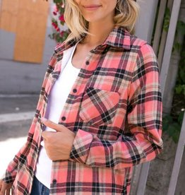 Plaid Fleece Lined Flannel Top