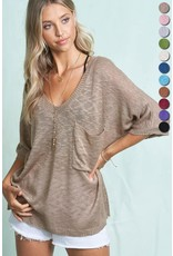 V-Neck Loose Knit Sweater Top