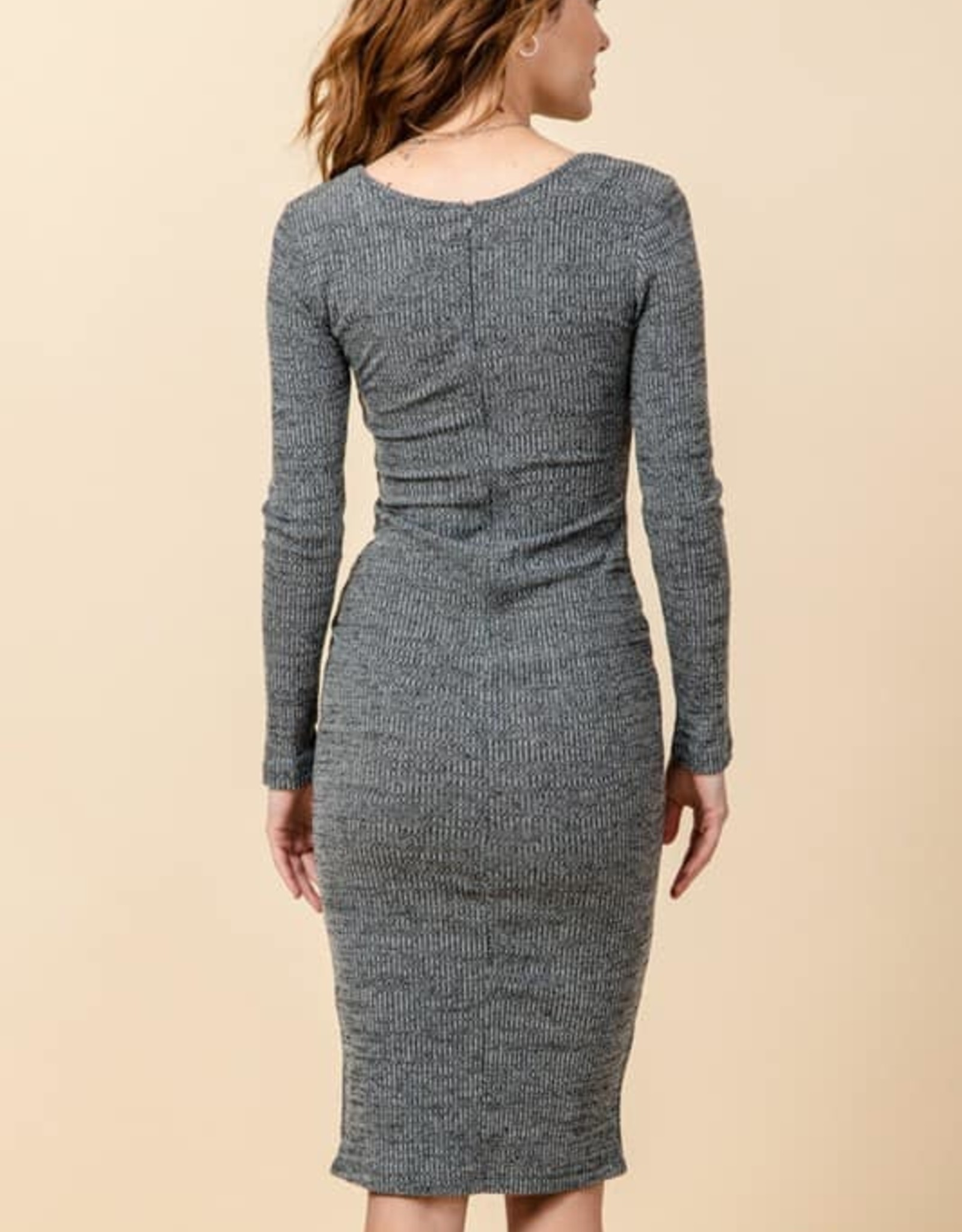 Button Detail Split Hem Dress