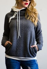 Double Hood Textured Knit Hoodie