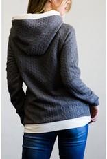 Double Hood Textured Knit Hoodie