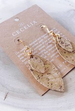 Cecelia Designs Small Feather Leather Earrings