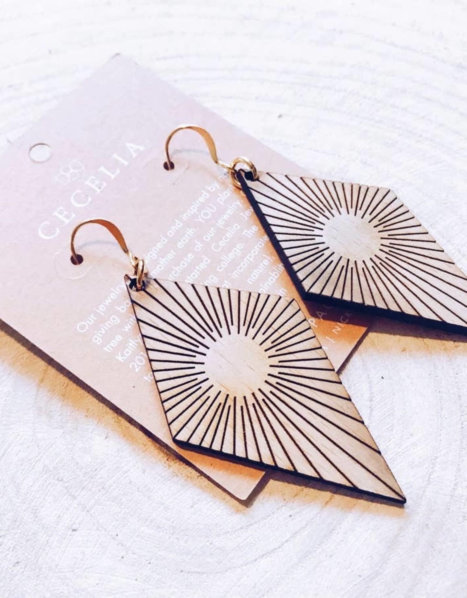 Cecelia Designs Diamond Wood Earrings