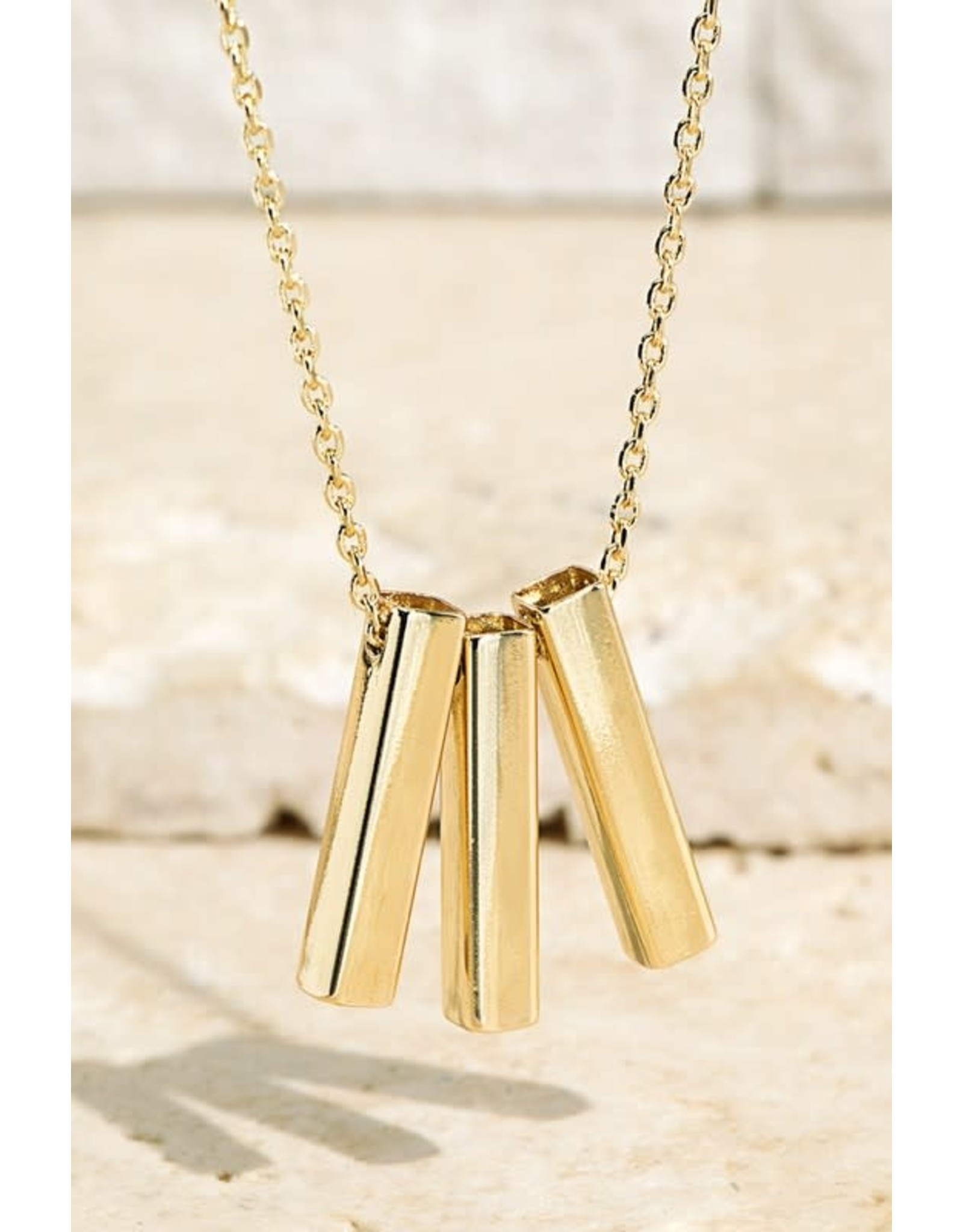 Brass Bar Pendant Necklace