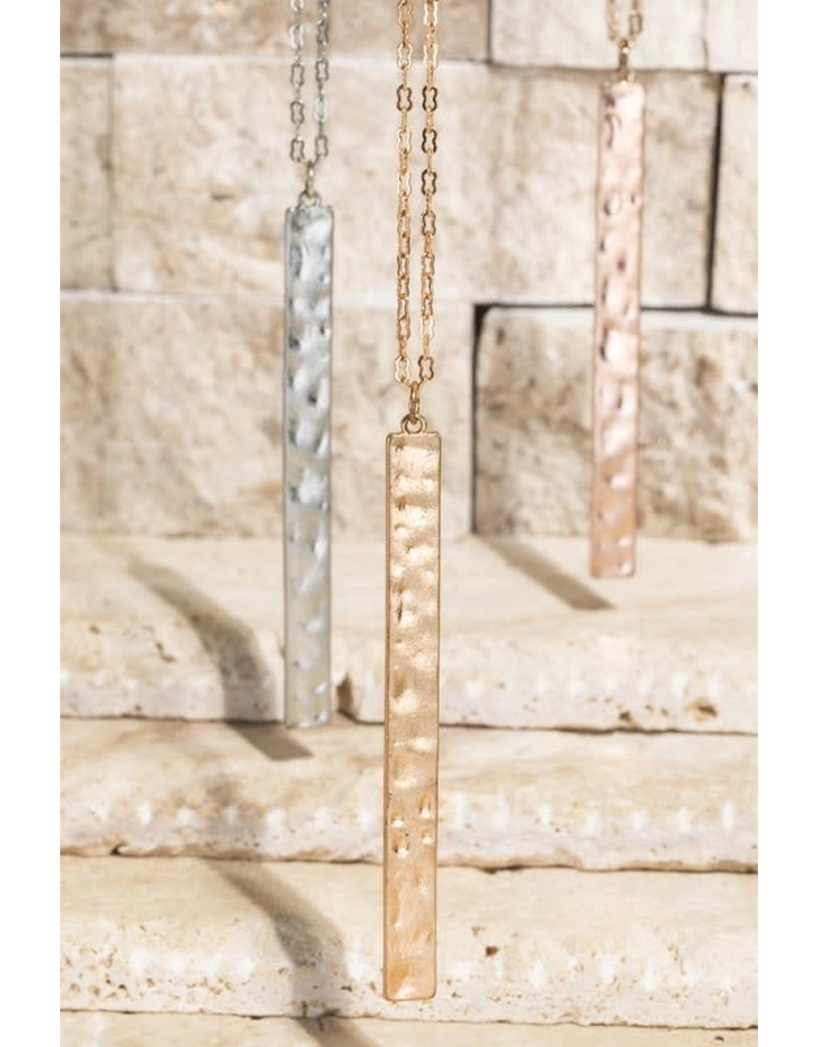 Hammered Metal Bar Pendant Necklace