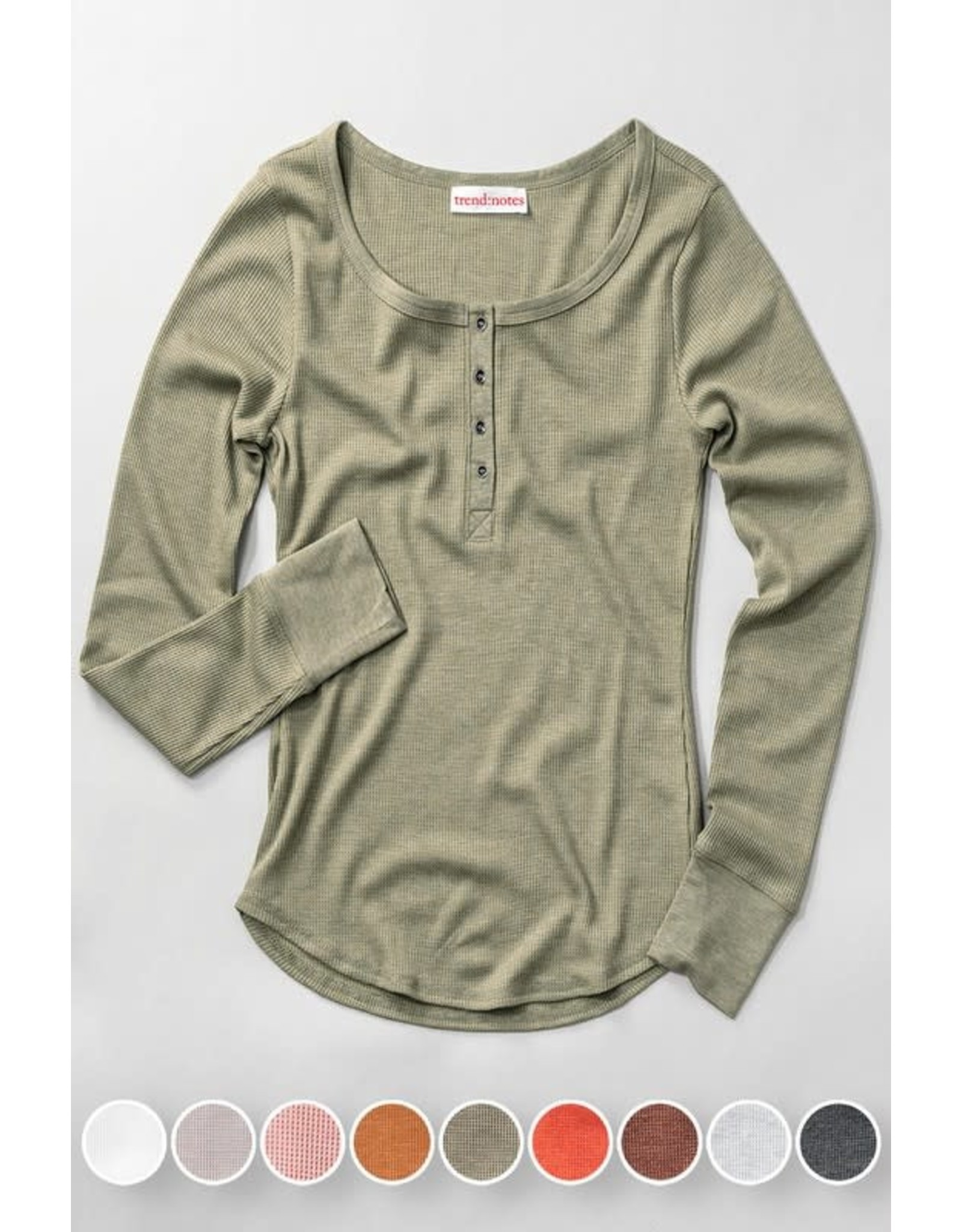 Waffle Knit Henley Top