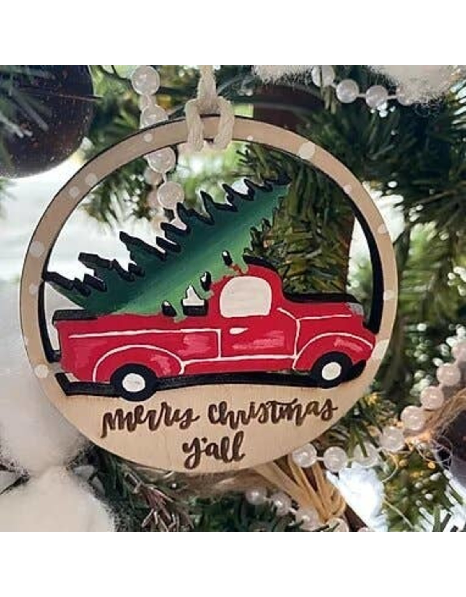 Merry Christmas Y'all Vintage Truck Oranment