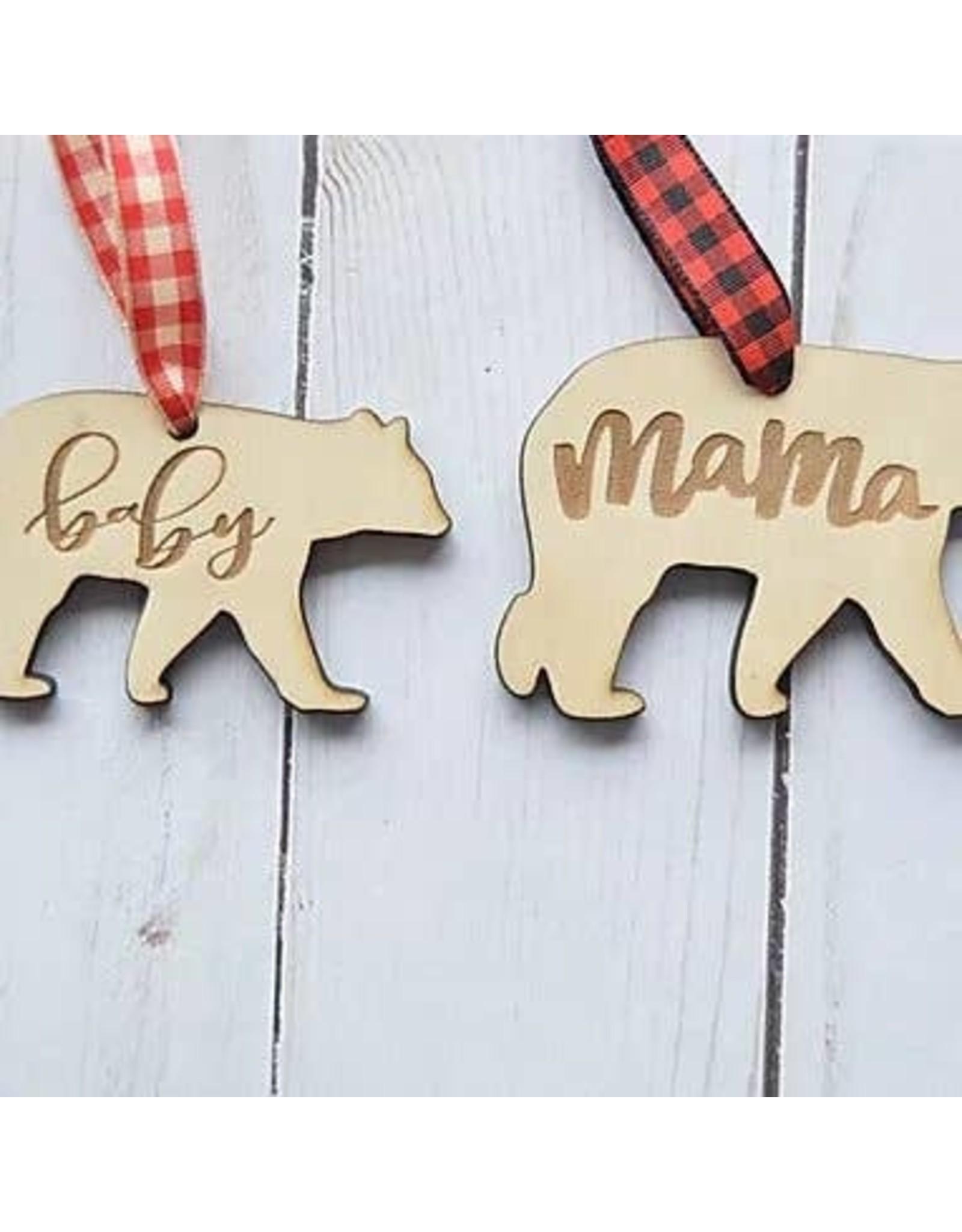 Mama Bear and Baby Bear Set Ornament Set