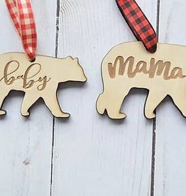 Mama Bear and Baby Bear Set Ornament Set