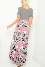 Stripped & Floral Maxi Dress Mauve Small