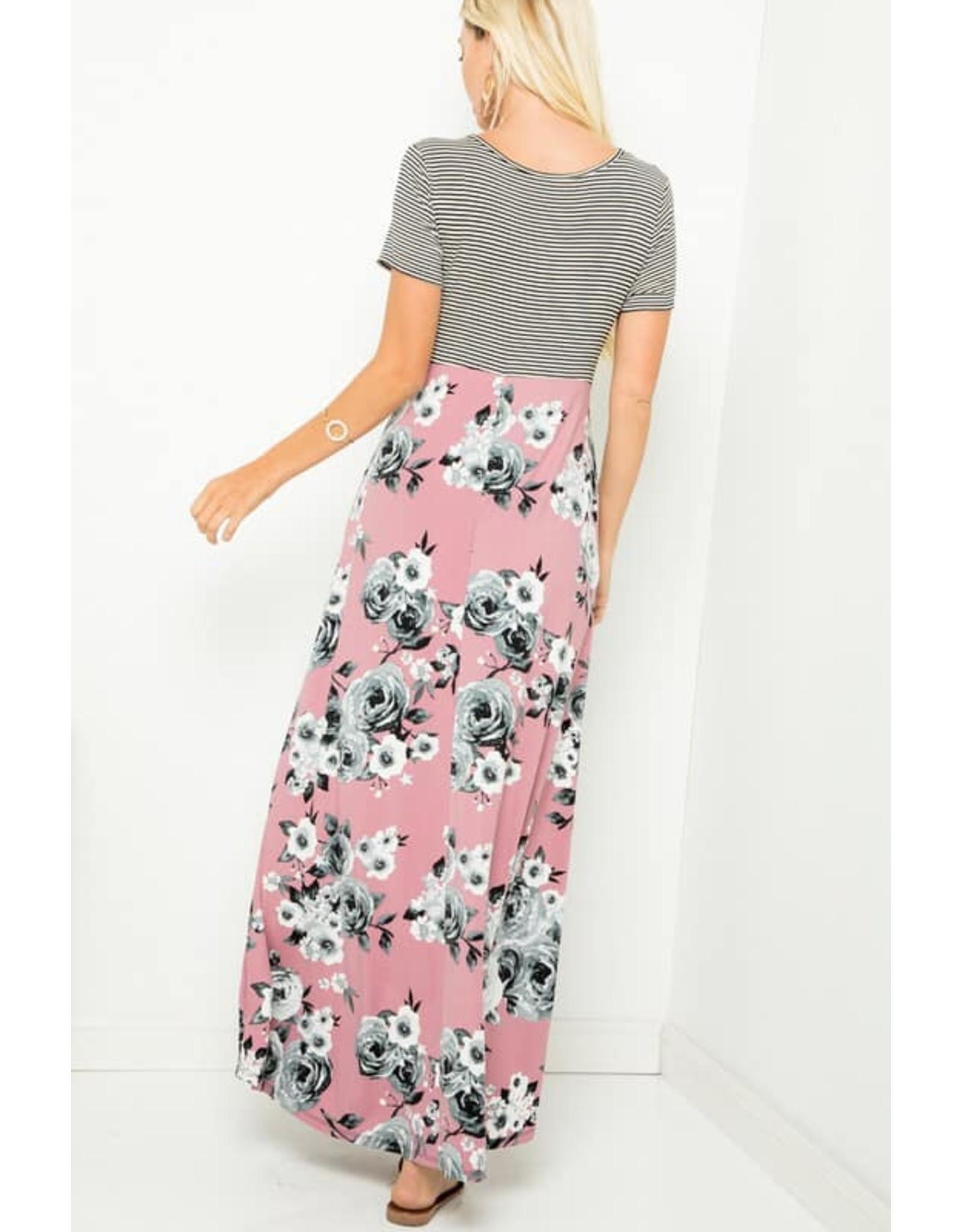 Stripe & Floral Maxi Dress Mauve Small