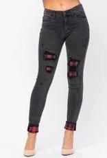 Judy Blue Black Buffalo Plaid Patch Jeans