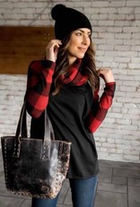 Buffalo Plaid Cowl Neck Top