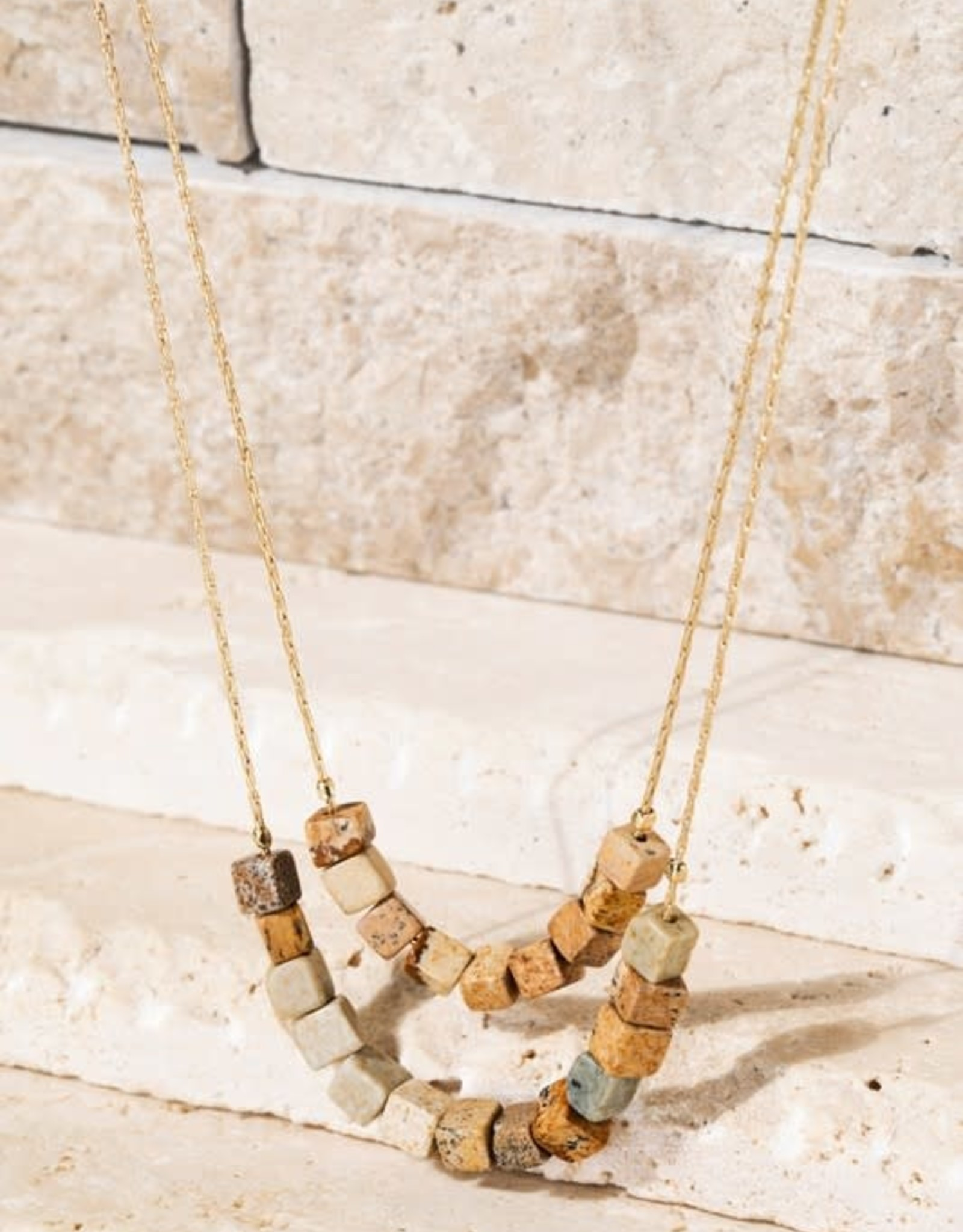 Double Layer Cube Natural Stone Necklace