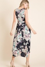 Floral hi-low midi dress with pockets