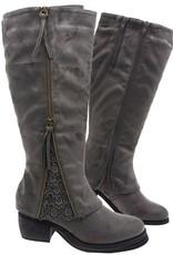 Zipper & Lace Detail Boots