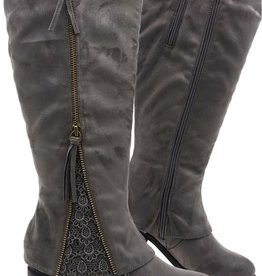 Zipper & Lace Detail Boots