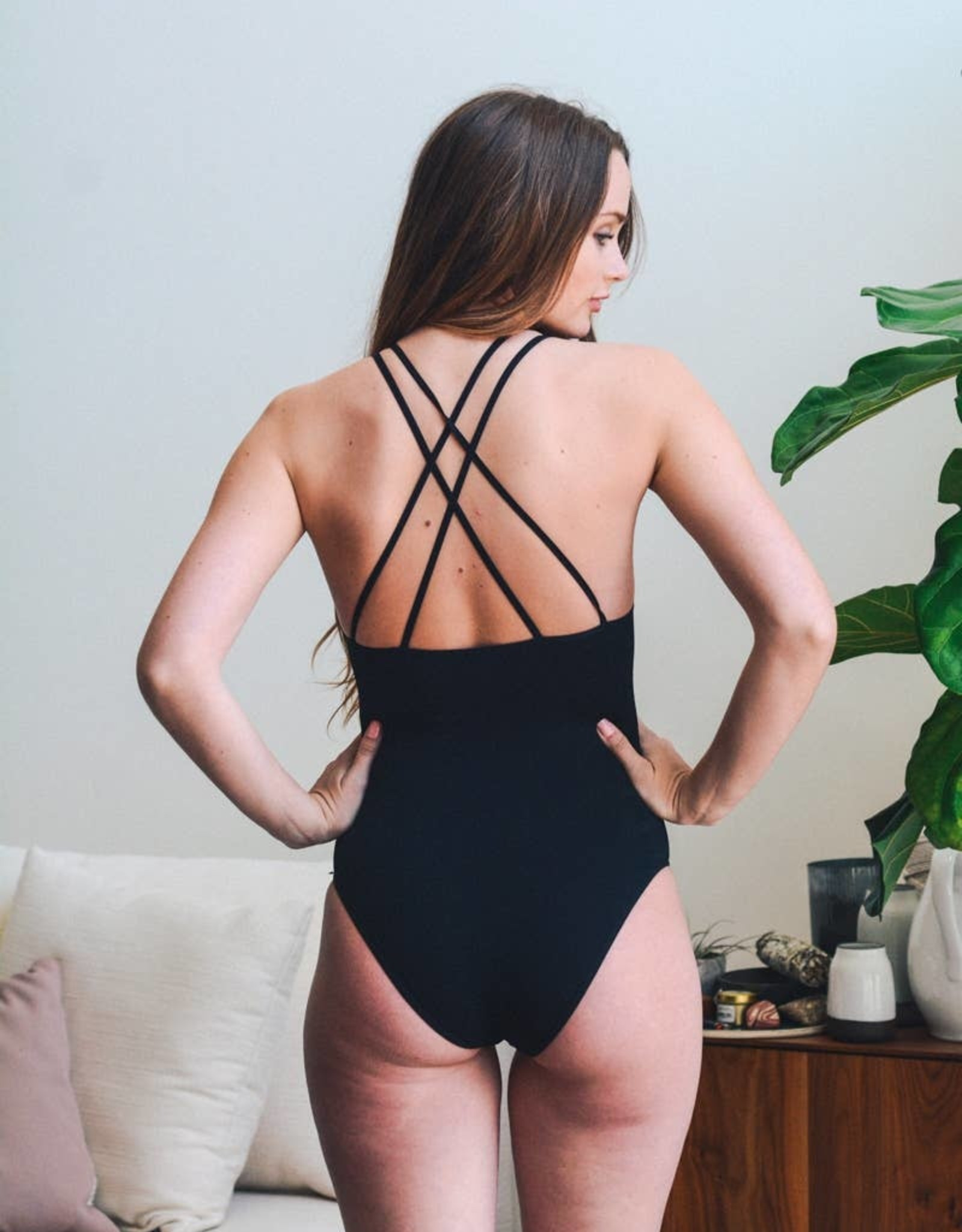 Seamless High Neck Cutout Ribbed Bodysuit