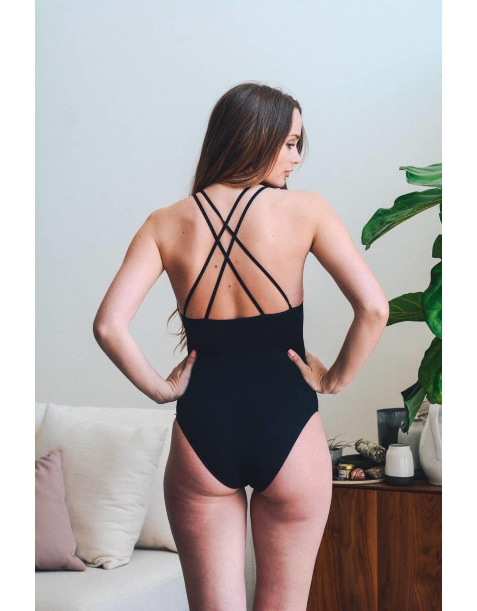 Seamless High Neck Cutout Ribbed Bodysuit
