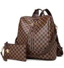 Checkerboard Convertible Backpack Bag