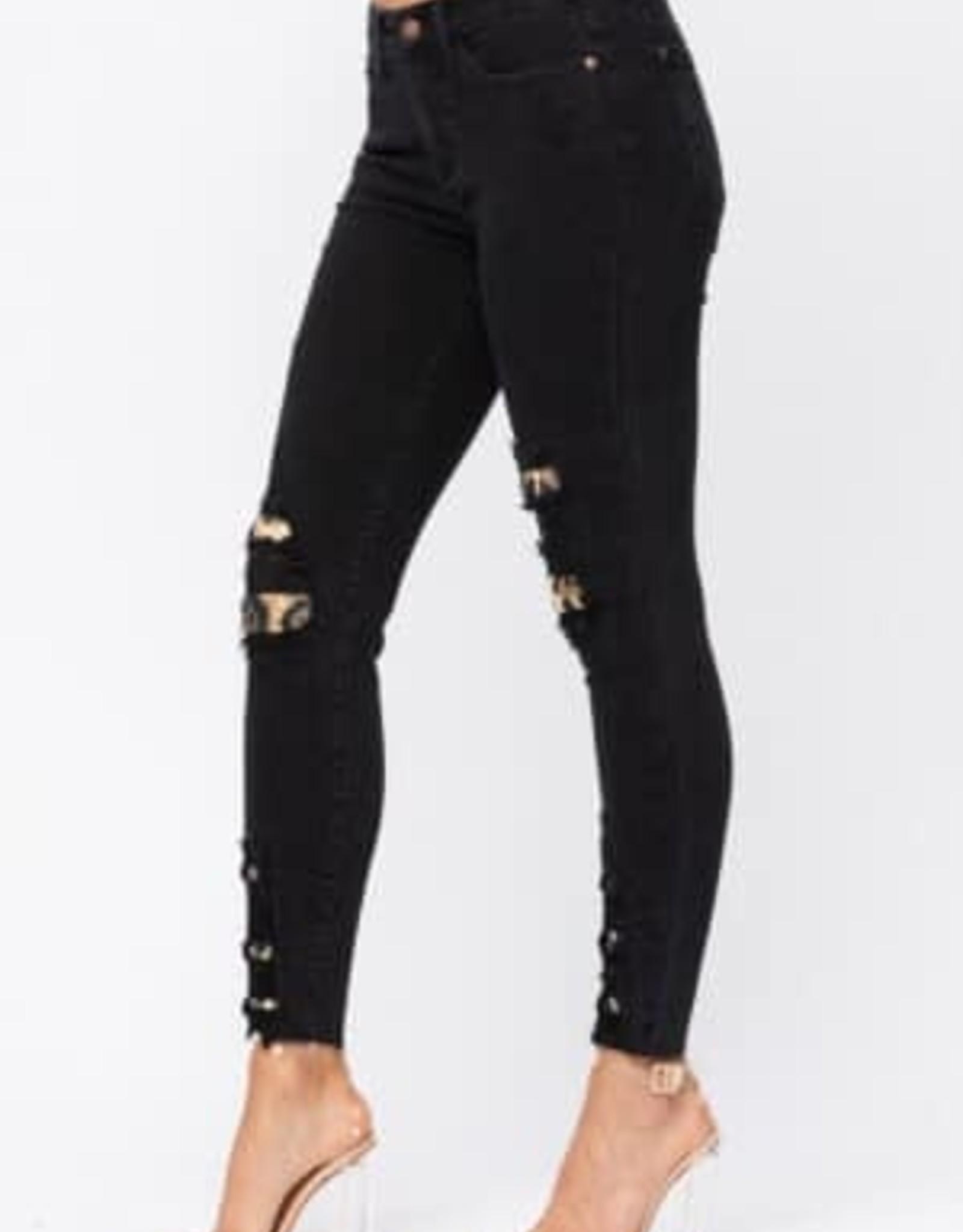 Leopard Patch Judy Blue Skinny Jeans