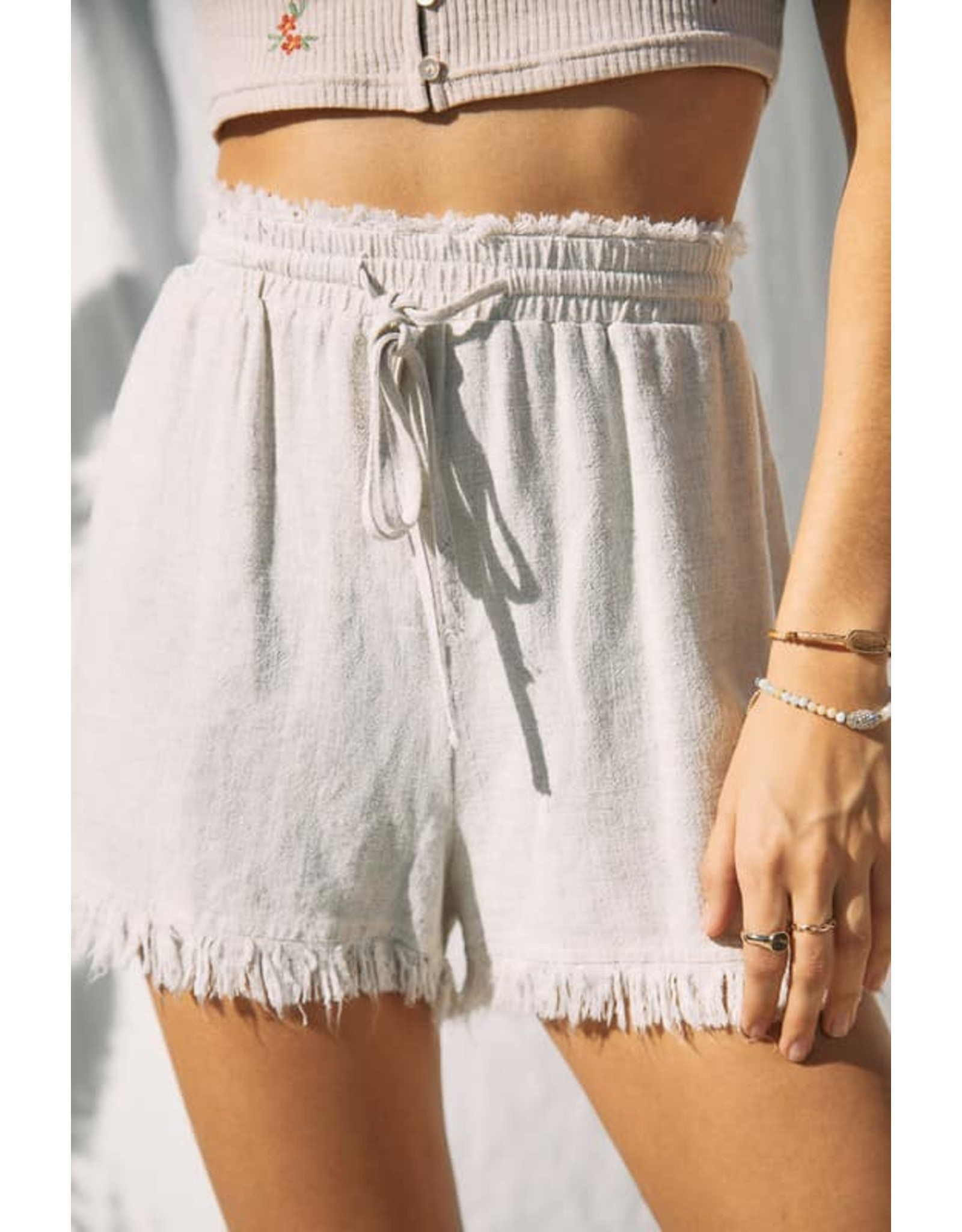 Fringe Hem Linen Shorts