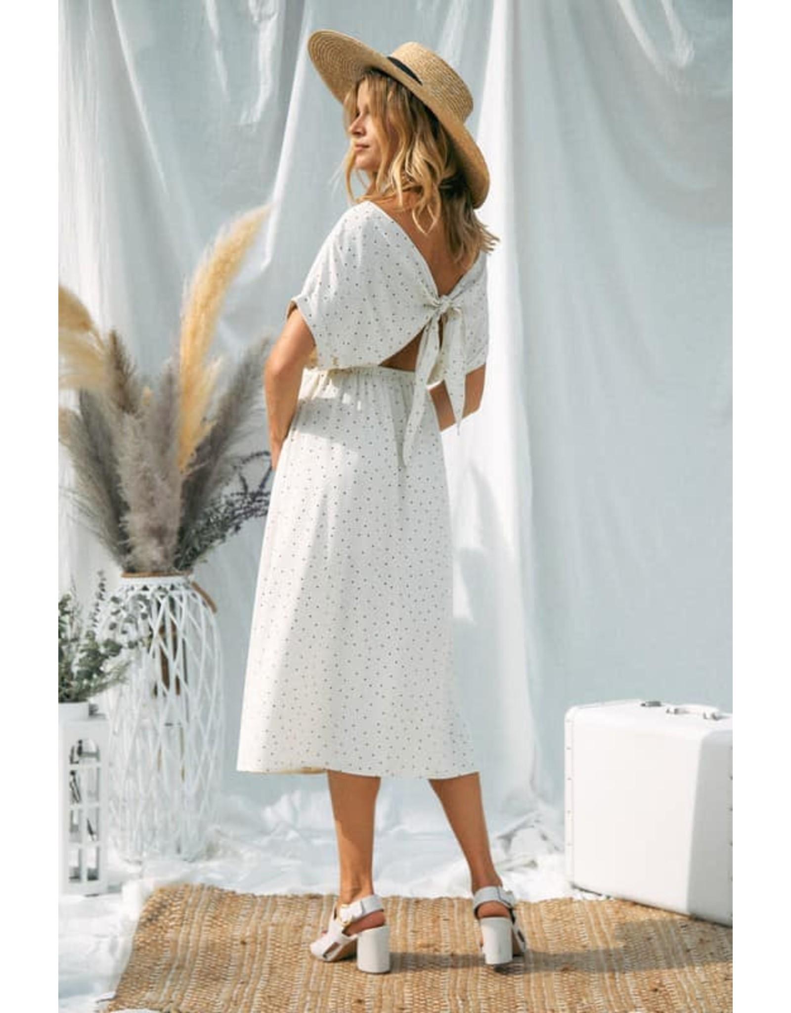 V- Neck Dot Midi Dress
