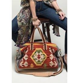 Navajo Pattern Weekender Bag Ivory