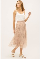 Lace Skirt with Floral Print Lining
