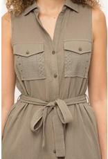 Eyelet Lace Pockets Shirt Dress