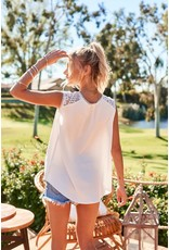 Sleeveless Laced Yoke Top