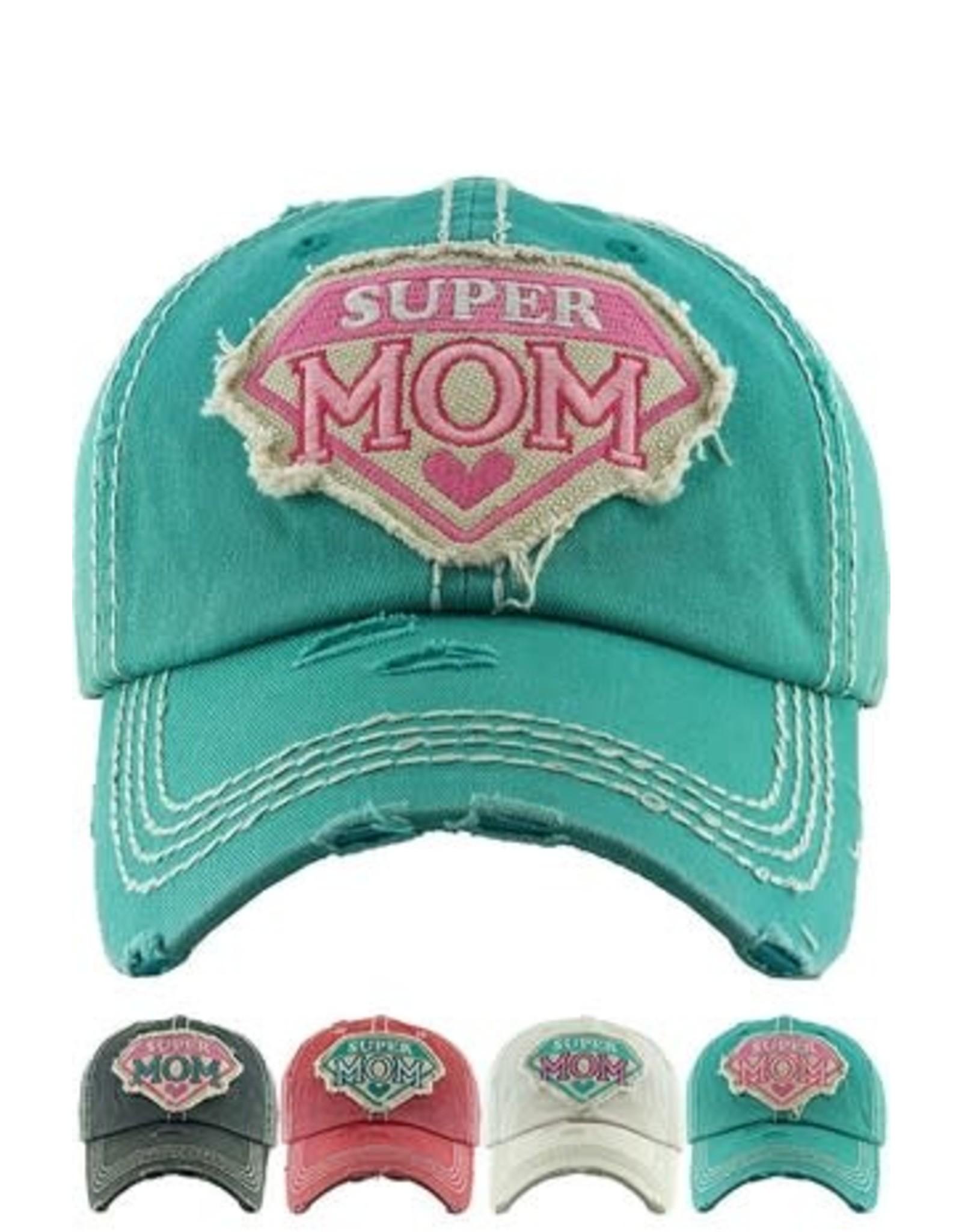 Super Mom Vintage Distressed Cap