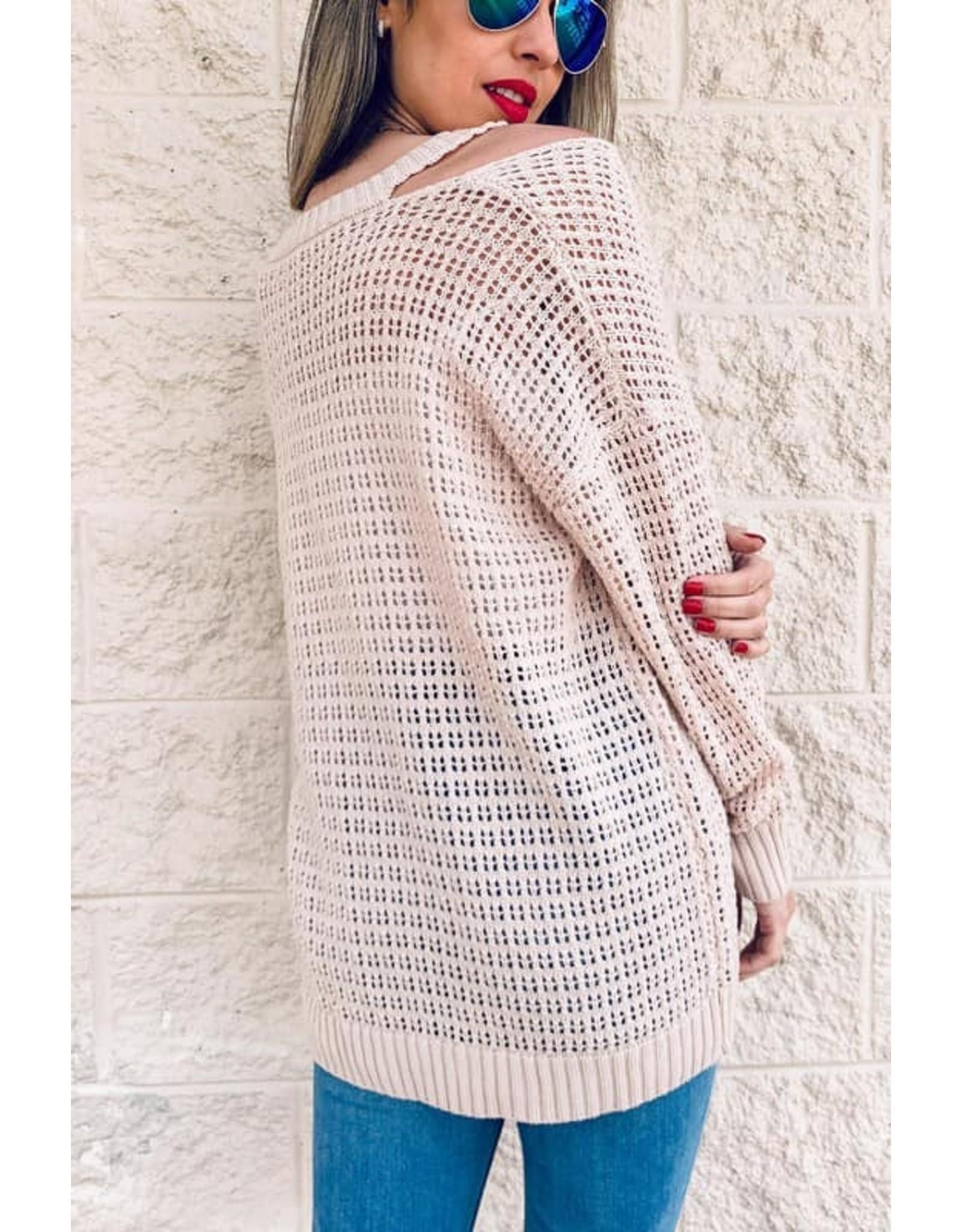 Textured Cold Shoulder Knit Top