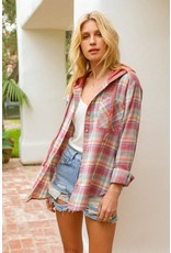 Plaid Top with Hoodie Contrast
